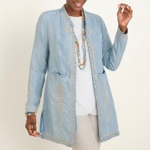 CHICO'S Chambray Embroidered Jacket / Kimono Sz 3